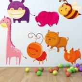 Kit Vinilo decorativo infantil animales con insectos