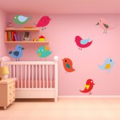 Kit Vinilo decorativo infantil aves