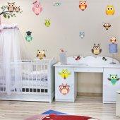 Kit Vinilo decorativo infantil búhos con aves