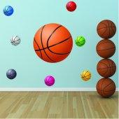 Komplet 8 naklejek - Piłki do koszykówki