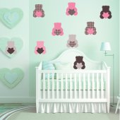 Komplet 9 naklejek Dla Dzieci - Niedźwiadki