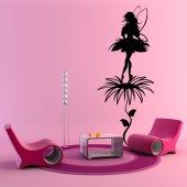 Naklejka ścienna - Czarodziejka i Kwiaty