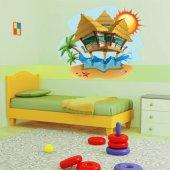 Naklejka ścienna Dla Dzieci - Domki na Plaży