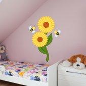 Naklejka ścienna Dla Dzieci - Kwiatek i Pszczoły