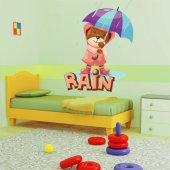 Naklejka ścienna Dla Dzieci - Niedźwiadek na Deszczu