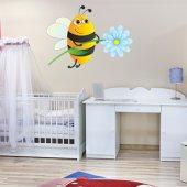 Naklejka ścienna Dla Dzieci - Pszczoła i Kwiatek