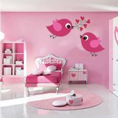 Naklejka ścienna Dla Dzieci - Zakochane Ptaszki