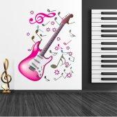 Naklejka ścienna - Gitara i Nuty