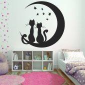 Naklejka ścienna - Koty na Księżycu