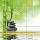 Naklejka na Płytki Ceramiczne - Bambus i Kamyki