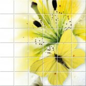 Naklejka na Płytki Ceramiczne - Kwiaty i Motyle