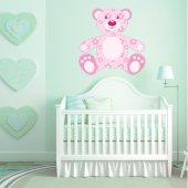 Sticker Pentru Copii Ursulet Flori Roz