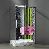 Sticker translucid semi pentru cabina de dus  Bambus Orhidee