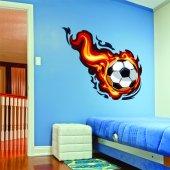 Autocollant Stickers ado ballon de foot en feu