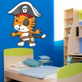 Autocollant Stickers enfant chat capitaine pirates
