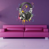 Autocollant Stickers ado casque audio note multicolore