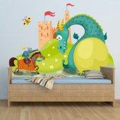 Autocollant Stickers enfant dragon et chevalier