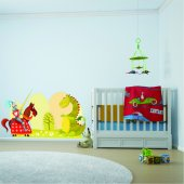 Autocollant Stickers enfant dragon et chevalier