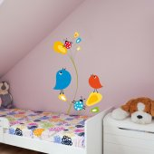 Stickers Fleur Oiseaux