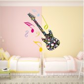 Autocollant Stickers ado guitare multicolore
