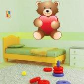 Autocollant Stickers enfant ourson coeur