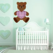 Autocollant Stickers enfant ourson coeur carreau
