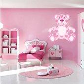 Autocollant Stickers enfant ourson coeur rose