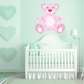 Autocollant Stickers enfant ourson fleur rose