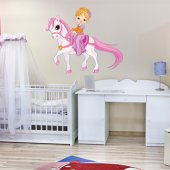 Autocollant Stickers enfant petite fille poney