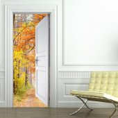 Stickers Porte Trompe L'oeil For�t
