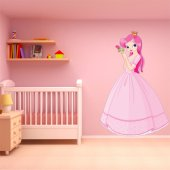 Autocollant Stickers enfant princesse avec rose