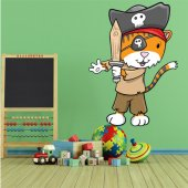 Autocollant Stickers enfant chat pirate