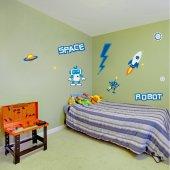 Autocollant Stickers enfant robot espace