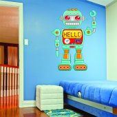 Autocollant Stickers enfant robot hello