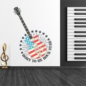 Autocollant Stickers ado guitare rock star
