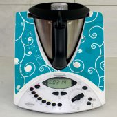 Stickers Thermomix TM31 Liseret sur fond turquoise