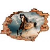 Stickers Trompe l'oeil 3D cheval