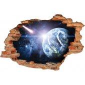 Stickers Trompe l'oeil 3D planete