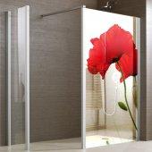 Transparentna Naklejka na Kabiny Prysznicowe Kolor - Kwiat Maku