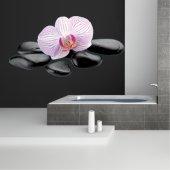 Vinilo decorativo guijarros orquídea