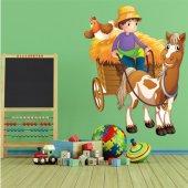 Vinilo infantil coche de caballos