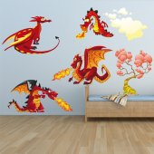 Wandsticker Drachen Set
