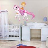 Wandsticker Pony mit kleinem Mädchen
