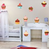 Wandtattoo Cupcake Set