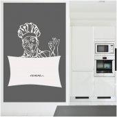 Wandtattoo Velleda weisse Tafel Küchenchef