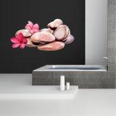 Adesivo Murale ciottoli fiori