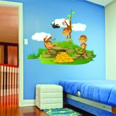 Adesivo Murale bambino 3 scimmie