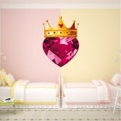 Adesivo Murale bambino corona e cuore diamanti