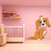 Adesivo Murale bambino cucciolo e principessa