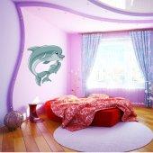 Adesivo Murale bambino mamma e cucciolo delfino